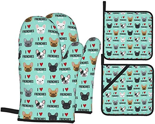 Frenchie Dog I Love French Bulldogs Frenchie Face Aqua 4PCS Oven Mitts and Pot Holders Kitchen Heat Resistant Gloves and Non-Slip Hot Pads for BBQ Cooking Baking Hand Protection