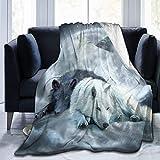 Fansu Kuscheldecke Flanell Decke, 3D Drucken Microfaser Flauschig Weich Warm Plüsch Wohndecke Fleece Tagesdecke Decke für Sofa & Bett (Weißer Wolf,150x220cm)