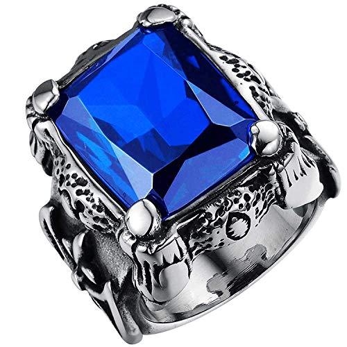 JIANLISP Anillo Grande de Cosecha de Flores de Acero Inoxidable Sapphire gótica Crystal Blue Dragon Claw Knight la Cruz de los Hombres
