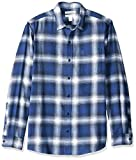 Amazon Essentials Men's Slim-Fit Long-Sleeve Plaid Flannel Shirt, Blue Ombre, Large