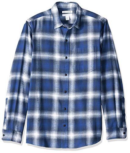 Amazon Essentials - Camicia in flanella a maniche lunghe, a quadri, da uomo, Slim Fit, Blu (Blue Ombre Plaid), US S (EU S)