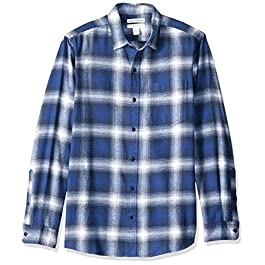 Amazon Essentials Men's Standard Slim-Fit Long-Sleeve Plaid Flannel Shirt