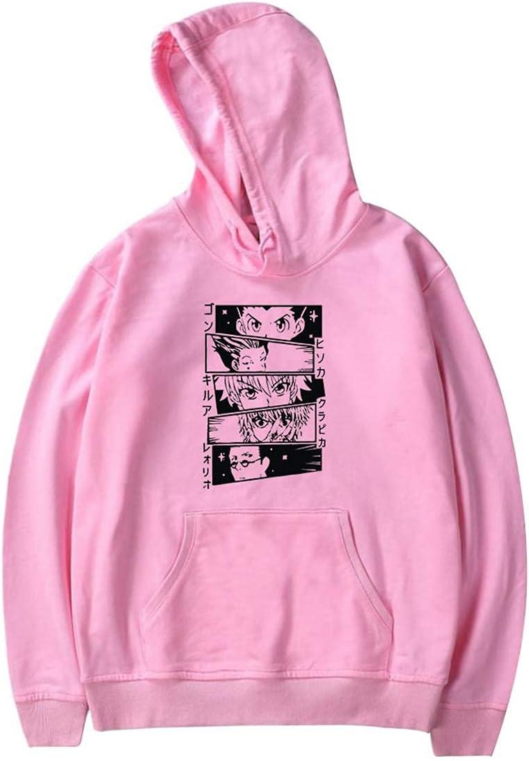 Fashion Anime Hunter X Hunter Hoodies Men/Women Sweatshirt Killua Harajuku Clothes(XS,05comics Pink)