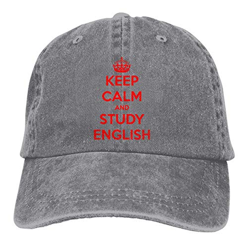 Baseball Caps für Herren/Damen,Golf-Kappen,Keep Calm and Study English Men's Women's Adjustable Jeans Baseball Hat Denim Jeanet Cap Sports Cool Youth Golf Ball Unisex Cowboy hat fedora beach hiking s
