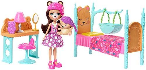 Enchantimals Coffret La Chambre de lOurs, Mini-poupée Bren Ours et Figurine Animale Snore avec lit et accessoires, jouet enfant, FRH46