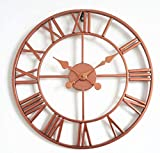 Reloj de Pared al Aire Libre, Estilo Europeo, Oro Rosa, Gran jardín, Reloj de Pared, Reloj de Pared Retro de Gran tamaño, Impermeable, Adorno de jardín Vintage