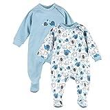 Bornino Schlafoverall (2er-Pack)- Baby-Pyjama mit seitlichem Reißverschluss - Schlafanzug aus Reiner Baumwolle - einfarbig/Gemustert