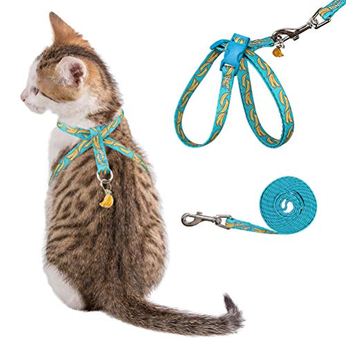 PUPTECK Escape Proof Cat Harness and Leash Set for Outdoor Walking, Soft Adjustable Kitten Harnesses with Cute Fruit…