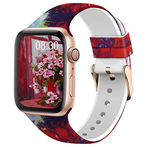 TSAAGAN Silicone Pattern Printed Band Compatible for Apple Watch Band 38mm 42mm 40mm 44mm, Floral Soft Sport Replacement Strap Wristband for iWatch Series 6/5/4/3/2/1 (Splash Ink, 42mm/44mm)