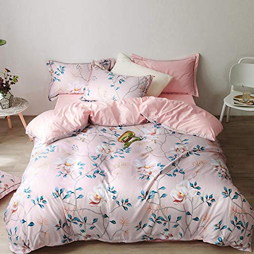 Bedding 4 Piece,New printed tencel four-piece suit, summer ice silky, cool, double-sided tencel, bed quilt cover, bedding-powder_1.5 bed 1.8 bed quilt cover 200 * 230