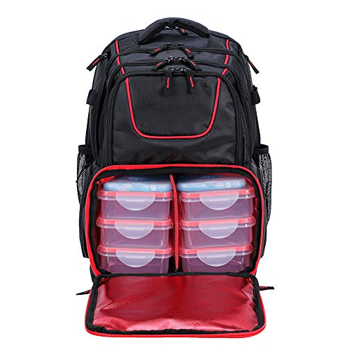 519 Fitness Meal Prep Backpack Insulated WaterproofCooler LunchLargeComputer Compartment Bodybuilding Bagformen and women to Hiking/Picnic/Gym-Includes6 Leakproof Meal Containers and 2 Ice Packs
