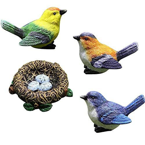 TBoxBo - 4 statuette decorative per uccelli in resina con uccellini, decorazione per giardino, giardino, giardino, cortile, fioriere, micro ornamenti per paesaggi, decorazioni per esterni