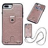 Vogu'SaNa - Funda de Silicona para iPhone 8 Plus/7 Plus con Correa para la Mano, Funda de Piel sintética de Poliuretano, con Compartimentos