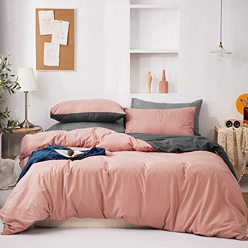 GETIYA Juego de ropa de cama reversible de 220 x 240 cm para hombre y mujer, monocolor, 3 piezas, suave microfibra, funda nórdica con cremallera y 2 fundas de almohada de 80 x 80 cm