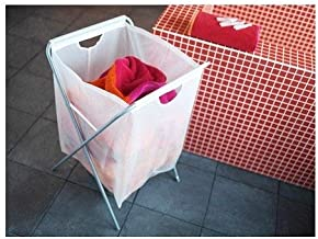 "Ikea Laundry Bag w/ Stand 18 Gallon 26"" H Holds 15lbs Foldable Clothes Storage Tote White Jall"