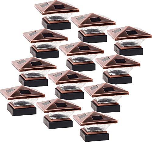 GreenLighting 12 Pack Siena Solar Post Cap Deck Light for 4x4 Nominal Wood or 4X4 & 5x5 PVC, Vinyl Posts (Bronze)