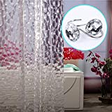 3D Clear Bubble Shower Curtain with 12 White Acrylic Crystal Rhinestones Decorative Shower Curtain Hooks