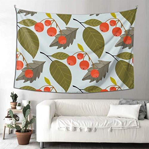 Tapiz de pared de dormitorio, rosa mosqueta roja, bayas y hojas verdes, baño, arte, decoración de pared, gimnasio, decoración de pared, 90 x 60 pulgadas (229 x 152 cm), arte para colgar en la pared,
