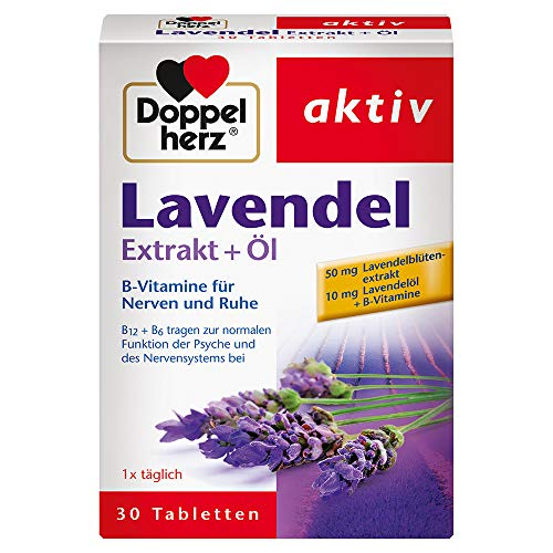 Doppelherz Lavendel Extrakt + Öl – Mit Vitamin B6 und B12 als Beitrag zur normalen Funktion der Psyche und des Nervensystems – 30 Tabletten