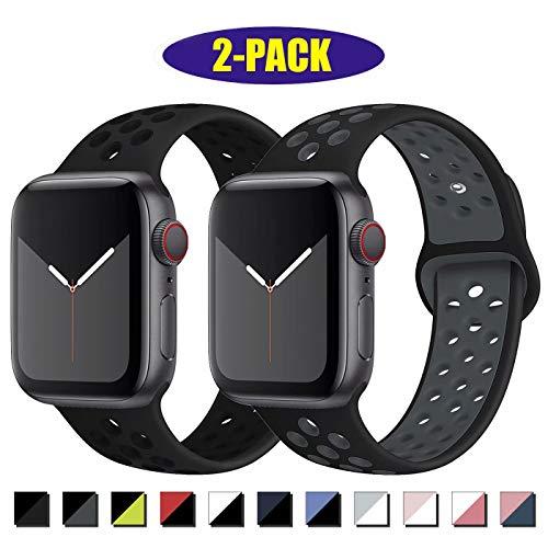 Inzaki, cinturino di ricambio per Apple Watch, 42 mm, 44 mm, morbido e traspirante, in silicone, per iWatch serie 5/4/3/2/1, Nike+, sportivo, impermeabile, M/L, nero/nero/grigio