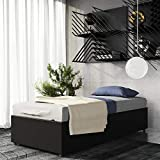 DHP Maven Platform Bed with Upholstered Faux Leather and Wooden Slat Support and Under Bed Storage, Twin Size - Black