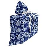 ABAKUHAUS Floral Sac Cadeau pour Fête Prénatale, Paisley Motif Ottoman, Pochette en Tissu Réutilisable de Fête avec 3 Rubans, 70 x 80 cm, Bleu Royal