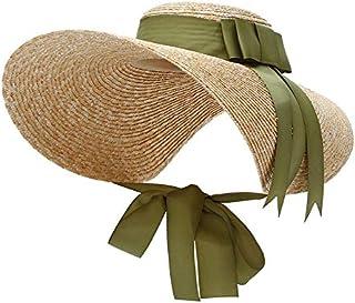 557451865e0754 Trendy Floppy Straw Hat Women Large Brim Sun Hats Ribbon Bow Elegant Lady  Beach Cap Panama