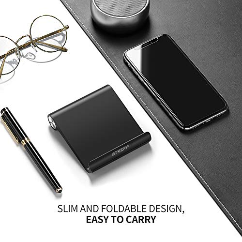 STRIFF Multi Angle Mobile Stand. Phone Holder for iPhone, Android, Samsung, OnePlus, Xiaomi. Portable,Foldable Cell Phone Stand.Perfect for Bed,Office, Home,Gift and Desktop (Black)