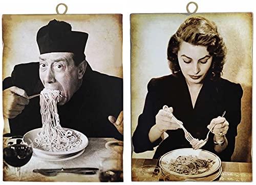 """KUSTOM ART Juego de 2 cuadros estilo vintage """"Actores famososos"""" Don Camillo-Fernandel y Sofia Loren – Impresión sobre madera para decoración de restaurante pizzería bar hotel"""