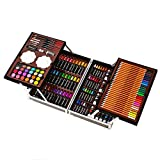 145pcs Deluxe Art Set funda de aluminio portátil con lápices marcadores de colores pasteles del aceite acuarela Pasteles para principiantes adultos artistas (Color : Blue)