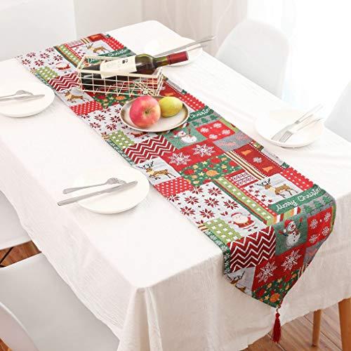 Meilily Weihnachtsdeko, 178 x35cm Weihnachten Tischläufer Tischband mit Schneeflocken oder Kariert, Hotel Restaurant Tischdeko Partys Dekoration Tischdecken für Weihnachtsfest Mitteldecke Tischband