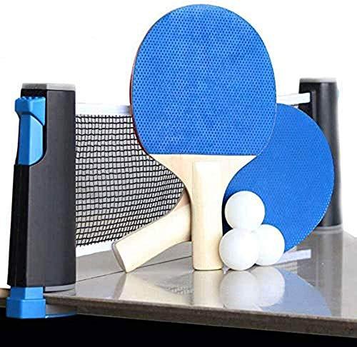 Bingoo Juego de tenis de mesa con redes, murciélagos y pelotas, juego de ping pong para niños y adultos interiores/al aire libre, red retráctil portátil para el hogar, la escuela