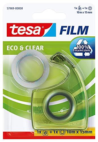 Tesa film Eco & Clear, 10m:15mm + Easy Cut Handabroller Eco Logo im Blister