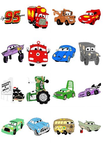 DISNEY/'S CARS DESIGNS MACHINE EMBROIDERY DESIGNS ON CD OR USB