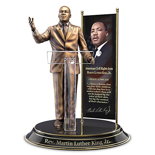 The Bradford Exchange Rev Martin Luther King Jr Commemorative Sculpture with Metal Banner Backdrop
