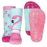Ewers 2er Pack Flamingo Stoppersocken SoftStep, Antirutschsohle für Mädchen, MADE IN TURKEY, Kindersocken, Anti-Rutsch, ABS