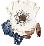 Chulianyouhuo Sunflower Graphic Shirt for Women Cute Flower Short Sleeve Casual Tee Tops Beige