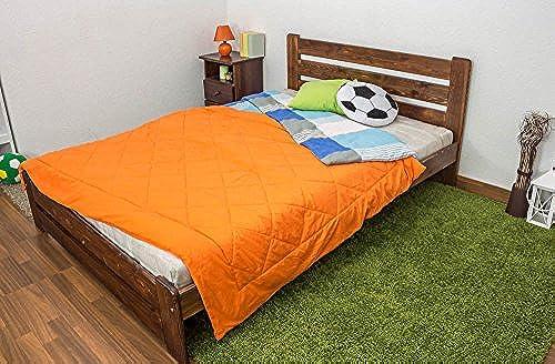 Kinderbett   Jugendbett Kiefer Vollholz massiv Nussfarben A24, inkl. Lattenrost - Abmessung 140 x 200 cm