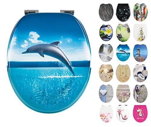 Calmwaters® WC Sitz Meeres Motiv Delfin mit doppelter Absenkautomatik, Fast-Fix-Befestigung aus Metall, universale O-Form, stabiler Holzkern Toilettendeckel, ovaler Komfort Toilettensitz 26LP2835