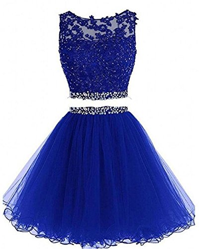 Dydsz Women's Prom Dress Short Homecoming Dresses for Juniors Teens 2 Piece A Line Tulle D127 RoyalBlue 2