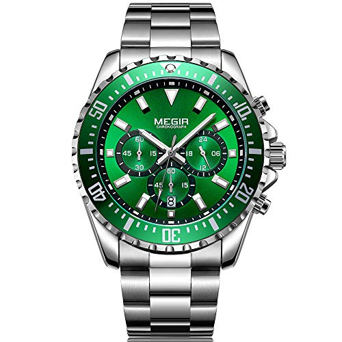 MEGIR Large Green Face Watches for...