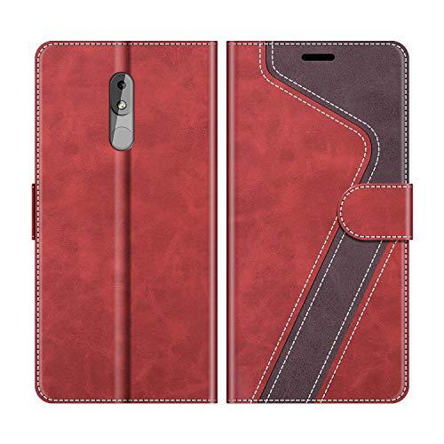 MOBESV Handyhülle für Nokia 3.2 Hülle Leder, Nokia 3.2 Klapphülle Handytasche Case für Nokia 3.2 Handy Hüllen, Modisch Rot