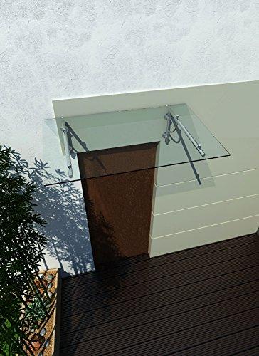 Preisvergleich Produktbild 200 x 90 cm (2 Haltestangen) Glasvordach Vordach Türvordach Türdach Haustür Klarglas Glas Edelstahl VSG