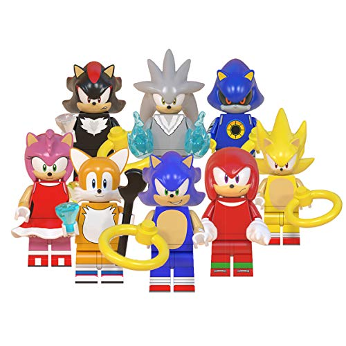 JUSTGIVE New Sonic Action Figures Set - Heroes from Sonic and Friends Movie - Gift for Boys and Girls (Sonic World Set)