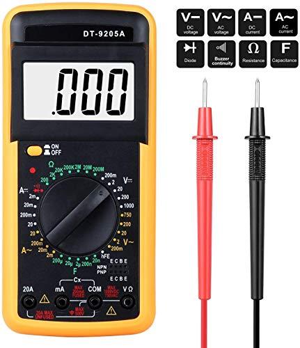 Multimetro Digital Profesional,Voltímetro Amperímetro Ohmímetro Probador Voltaje Multicomprobador AC DC con Retroiluminación LCD para Laboratorio, Las Fábricas