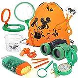 Lehoo Castle Kit de Explorador para Niños, Set de Juguetes al Aire Libre 26 Piezas, Kit Aventura con Binoculares Lupa para Acampada y Senderismo