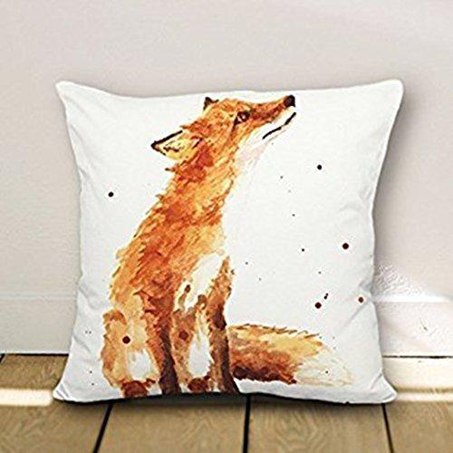 B Lyster shop Cotton Linen Decorative Throw Pillow Case Cushion Cover Fox pillow cases 18 x 18