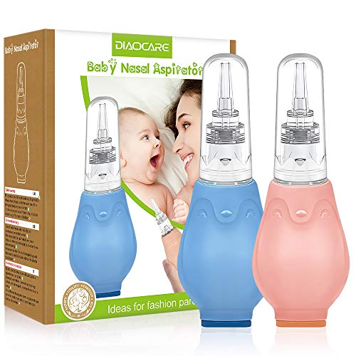 2 Stück Nasensauger Baby,DIAOCARE Anti-Backflow Nasensekretsauger für Neugeborene kinder,Weichem Saugkopf,Nasenschleim Schnell Entfernen, Handbuch Baby Nasensauger für Staubsauge