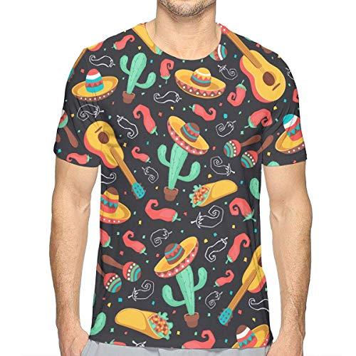 DLing T-Shirt Kurzarm mit kreativem Druck für Männer Kakteen und Jalapeno Classic 3D Gr. XXL, Mehrfarbig