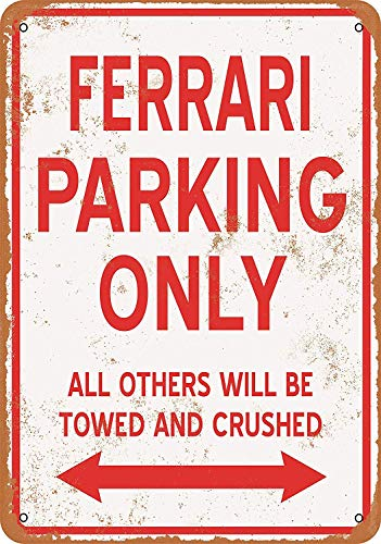 SRongmao 16 x 12 Tin Metal Sign - Vintage Look Ferrari Parking ONLY Bar Cafe Home Wall Art Deco